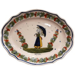 Early 20th Century French Hand-Painted Faience Wall Platter Signed HR Quimper
