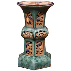 Early 20th Century French Hand Painted Glazed Ceramic Garden Stool