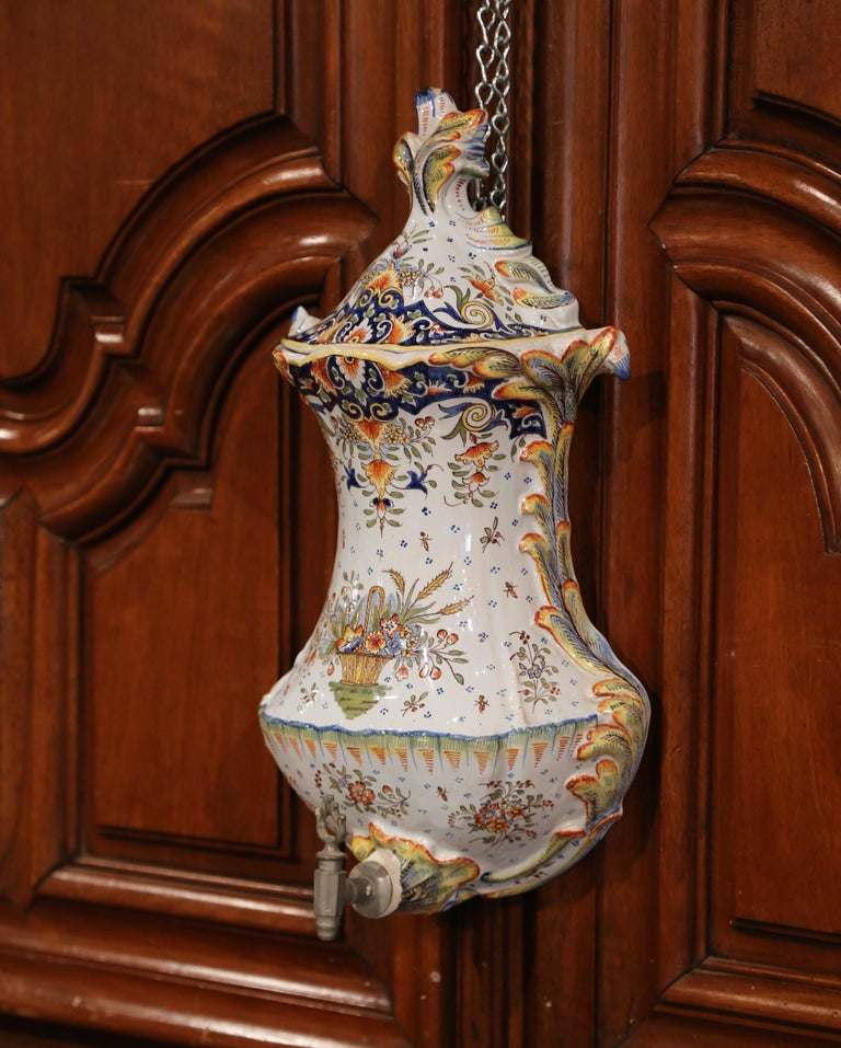 Louis XV Early 20th Century, French Hand Painted Wall Faience Lavabo Fountain from Rouen For Sale