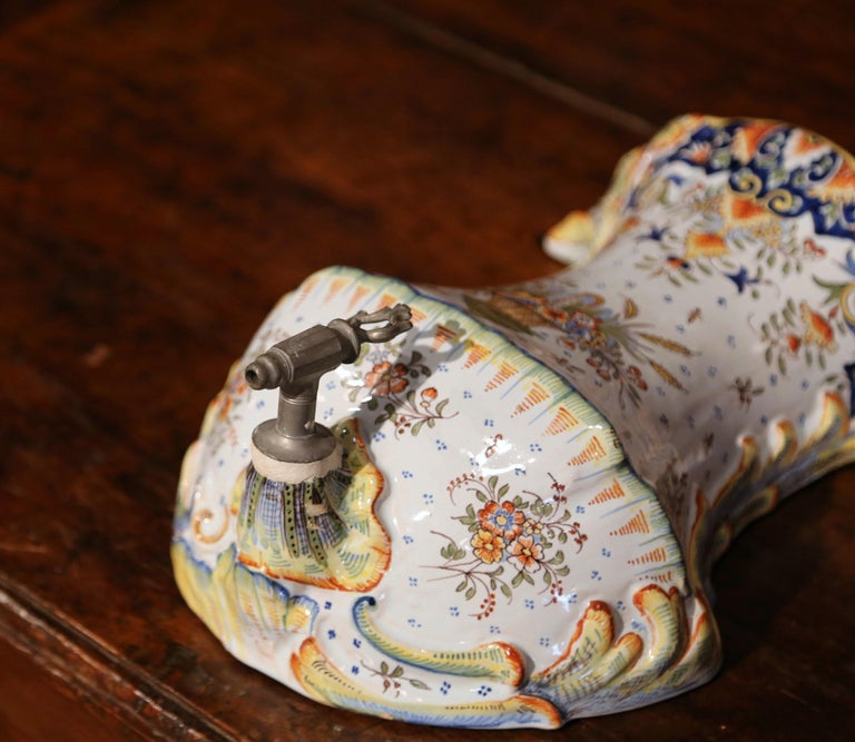 Ceramic Early 20th Century, French Hand Painted Wall Faience Lavabo Fountain from Rouen For Sale