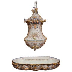 Early 20th Century, French Hand-Painted Wall Faience Lavabo Fountain from Rouen