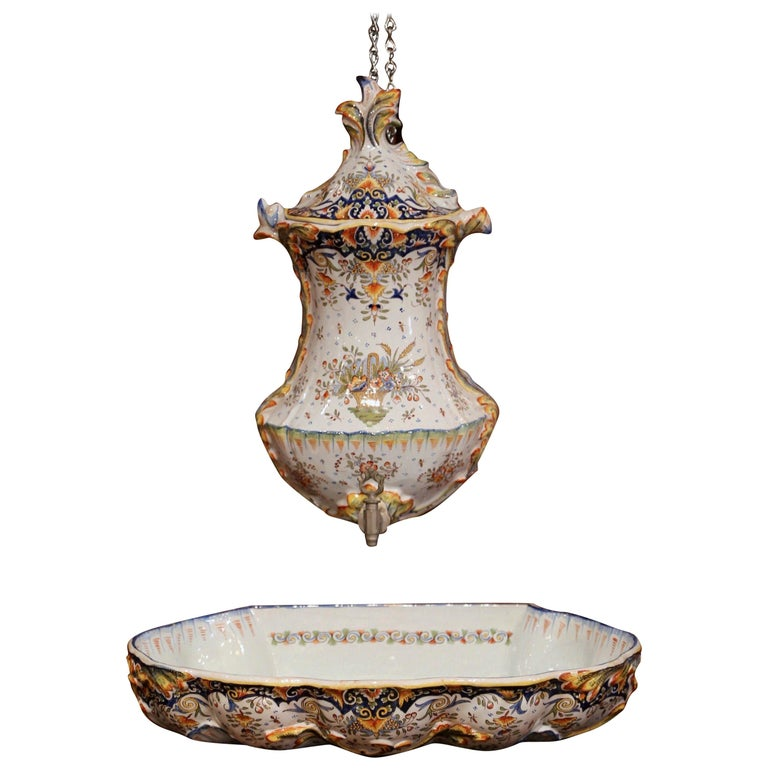 Early 20th Century, French Hand Painted Wall Faience Lavabo Fountain from Rouen For Sale