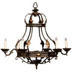 Early 20th Century French Hexagonal Painted Iron Six-Light Chandelier