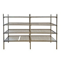 Early 20th Century French Industrial Galvanized Zinc Shelving
