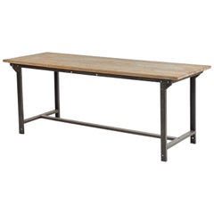 Early 20th Century French Industrial Metal and Wood Table