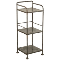 Early 20th Century French Industrial Steel Side Table with Three Shelves