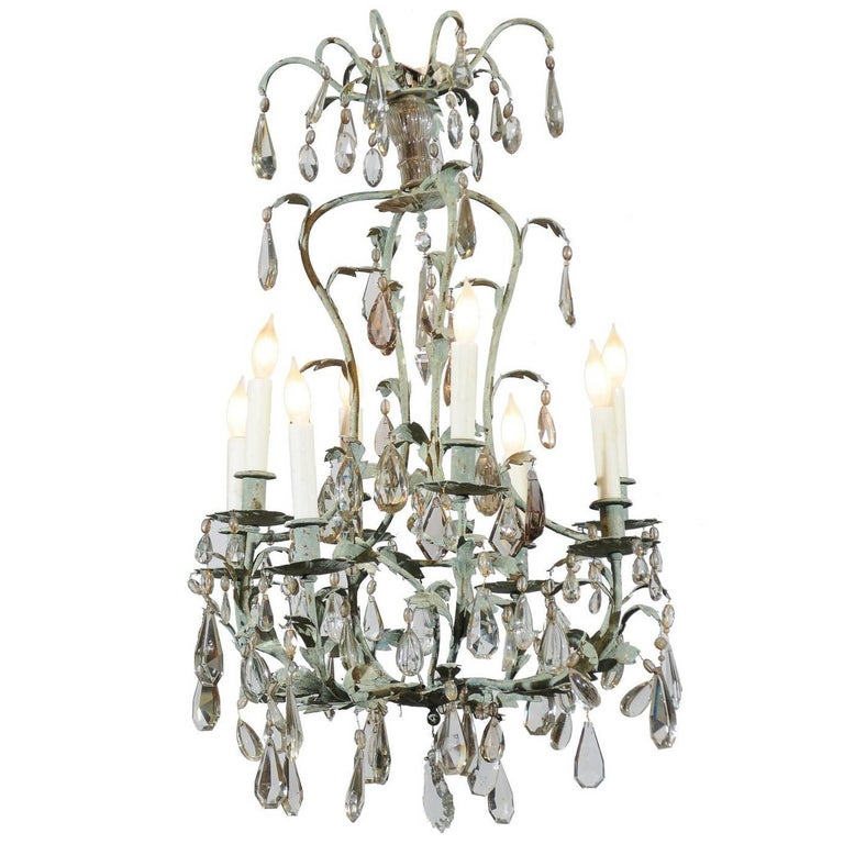 Early 20th Century French Iron and Crystal Chandelier, circa 1900