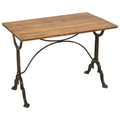 Early 20th Century French Iron and Oak Bistro Table or Cafe Table