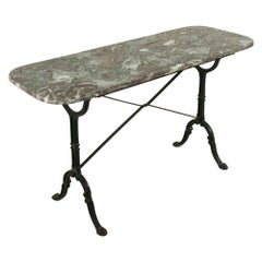 Early 20th Century French Iron Bistro Table or Outdoor Garden Table with Marble