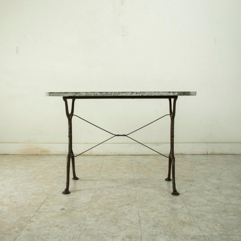 Early 20th Century French Iron Bistro Table with Grey Marble Top For Sale 2