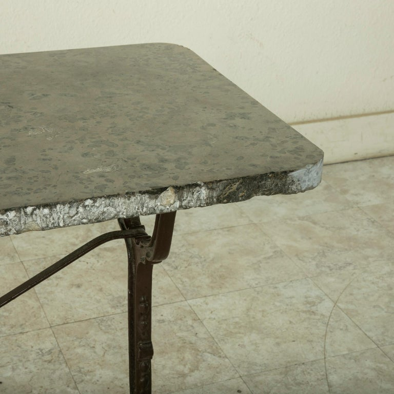 Early 20th Century French Iron Bistro Table with Grey Marble Top For Sale 4