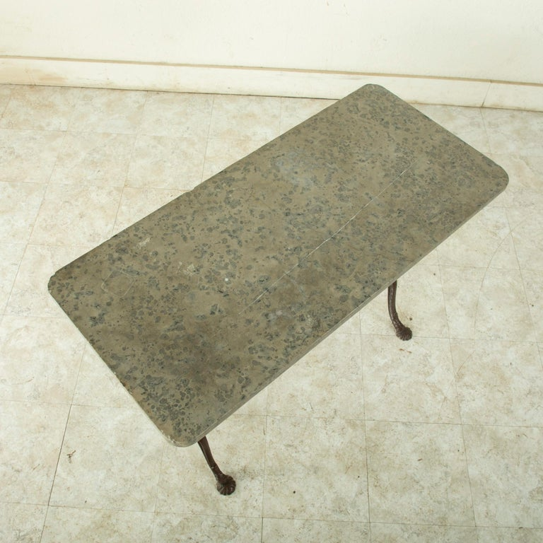 Early 20th Century French Iron Bistro Table with Grey Marble Top For Sale 5