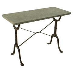 Early 20th Century French Iron Bistro Table with Grey Marble Top