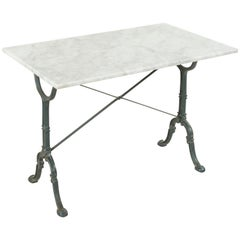 Early 20th Century French Iron Bistro Table with Maker's Name Godin, Marble Top