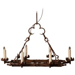 Early 20th Century French Iron Six-Light Flat Bottom Island Chandelier
