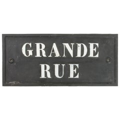 Early 20th Century French Iron Street Sign Grande Rue