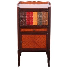 Early 20th Century French Kingwood Stand Nightstand with Faux Books
