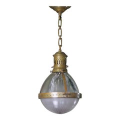Early 20th Century French Large Brass Caged Holophane Pendant Light