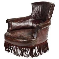 Early 20th Century French Leather Armchair with Fringe