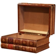 Early 20th Century French Leather Bound Books Decorative Box with Drawer