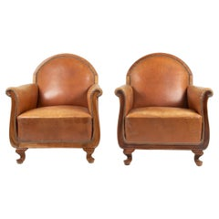 Early 20th Century French Leather Club Chairs