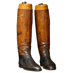 Early 20th Century French Leather Horse Riding Boots with Antique Boot Trees