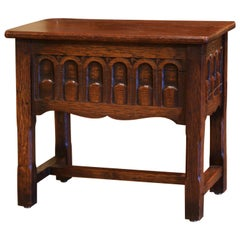 Early 20th Century French Louis XIV Carved Oak Side Table, Coffer Storage Bench
