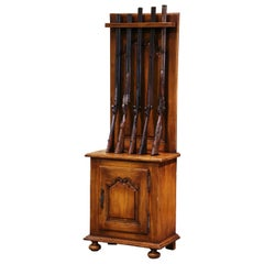 Early 20th Century French Louis XIV Carved Walnut Gun Display Cabinet