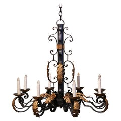 Early 20th Century French Louis XV Black and Gilt Iron Eight-Light Chandelier