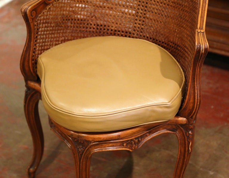 Early 20th Century French Louis XV Cane Desk Armchair with Leather Cushion For Sale 6