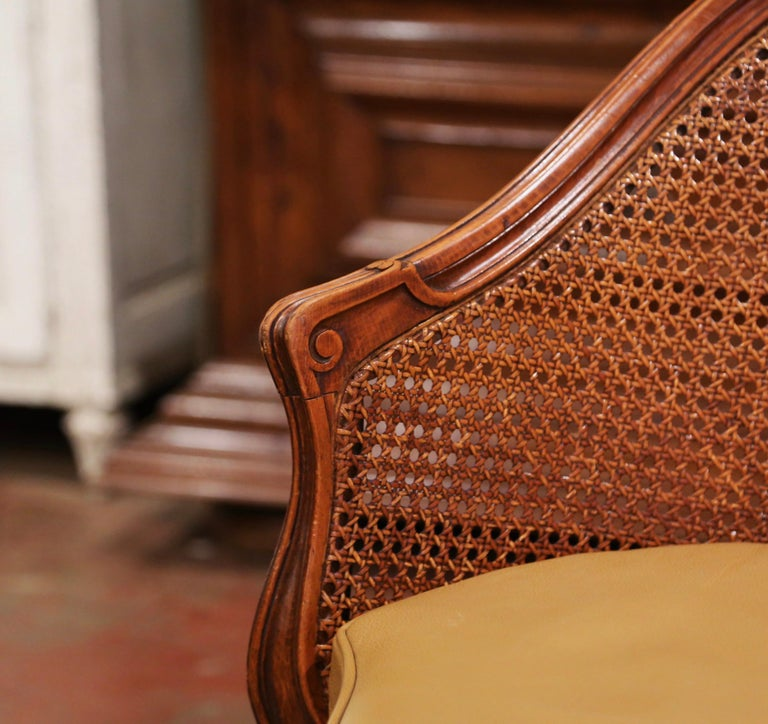 Early 20th Century French Louis XV Cane Desk Armchair with Leather Cushion For Sale 7
