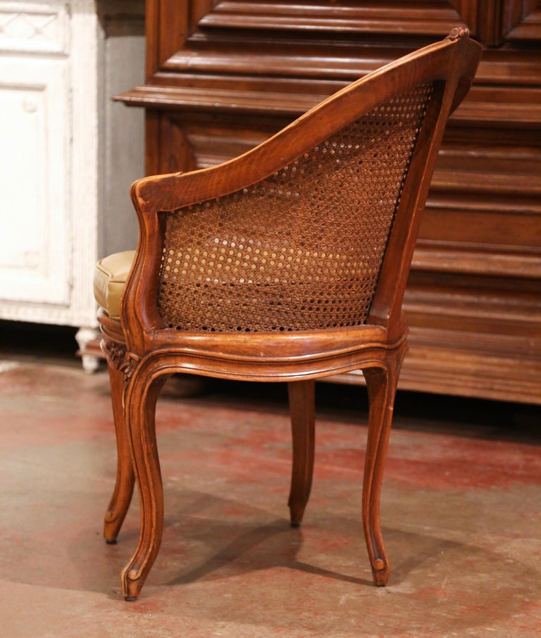 Early 20th Century French Louis XV Cane Desk Armchair with Leather Cushion For Sale 8