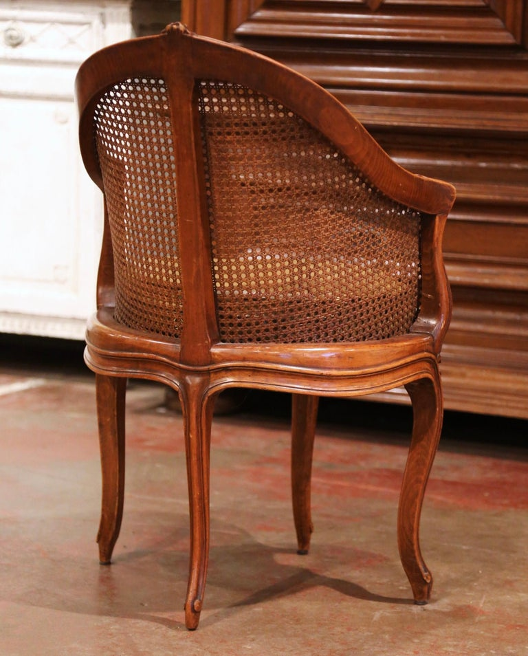 Early 20th Century French Louis XV Cane Desk Armchair with Leather Cushion For Sale 9