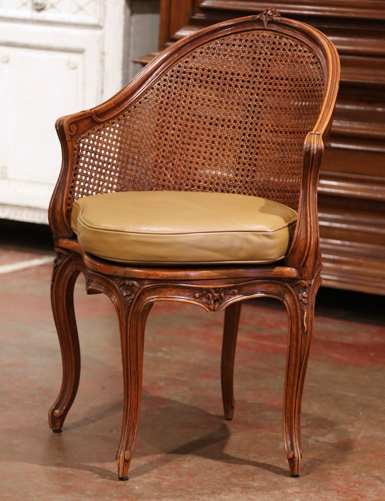 Hand-Carved Early 20th Century French Louis XV Cane Desk Armchair with Leather Cushion For Sale