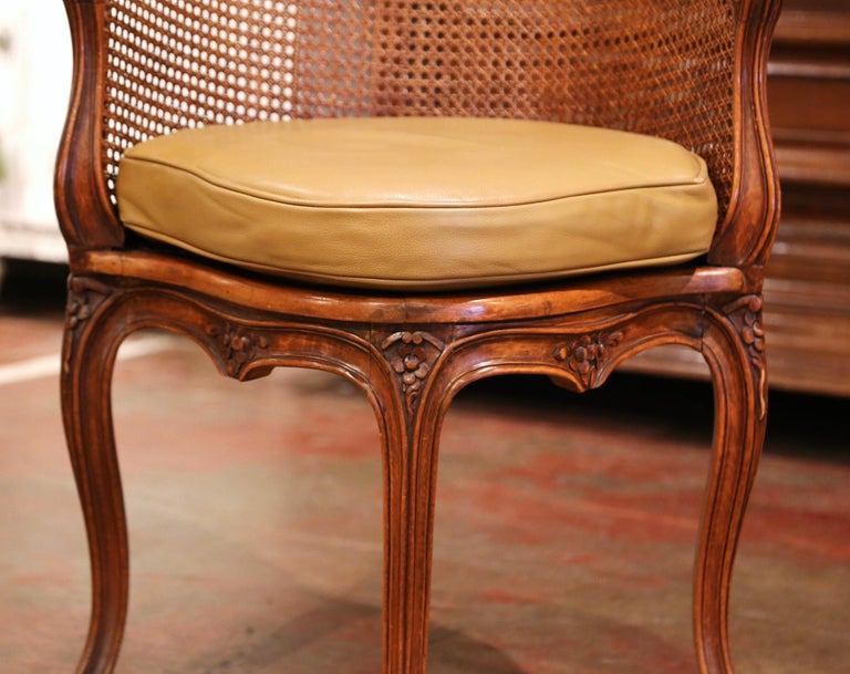 Early 20th Century French Louis XV Cane Desk Armchair with Leather Cushion In Excellent Condition For Sale In Dallas, TX