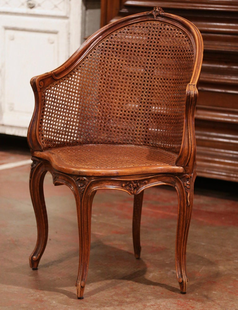 Early 20th Century French Louis XV Cane Desk Armchair with Leather Cushion For Sale 1