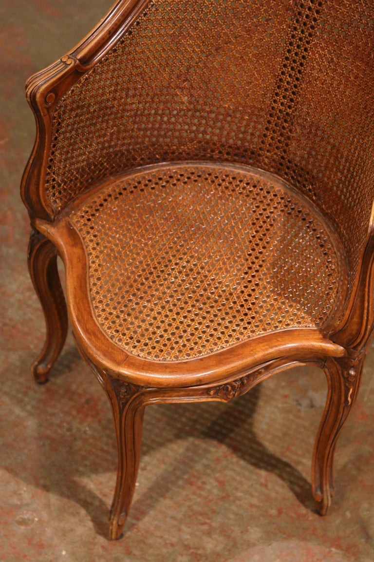 Early 20th Century French Louis XV Cane Desk Armchair with Leather Cushion For Sale 2