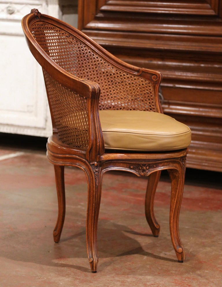 Early 20th Century French Louis XV Cane Desk Armchair with Leather Cushion For Sale 4