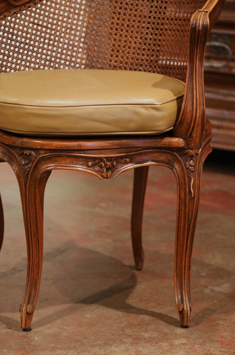 Early 20th Century French Louis XV Cane Desk Armchair with Leather Cushion For Sale 5