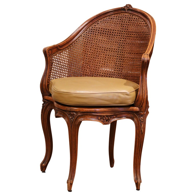 Early 20th Century French Louis XV Cane Desk Armchair with Leather Cushion For Sale