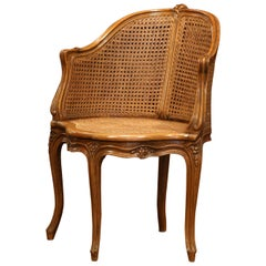 Early 20th Century French Louis XV Carved and Double-Cane Desk Armchair