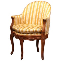 Early 20th Century French Louis XV Carved Beech and Upholstered Desk Armchair