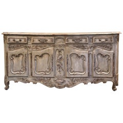 Early 20th Century French Louis XV Carved Painted Four-Door Buffet from Provence