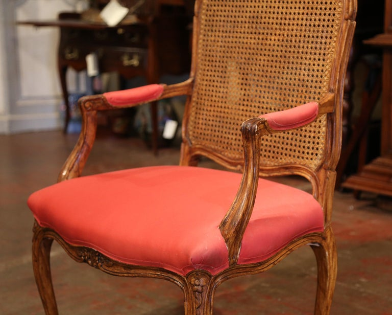 Early 20th Century French Louis XV Carved Walnut Desk Armchair with Cane Back For Sale 2
