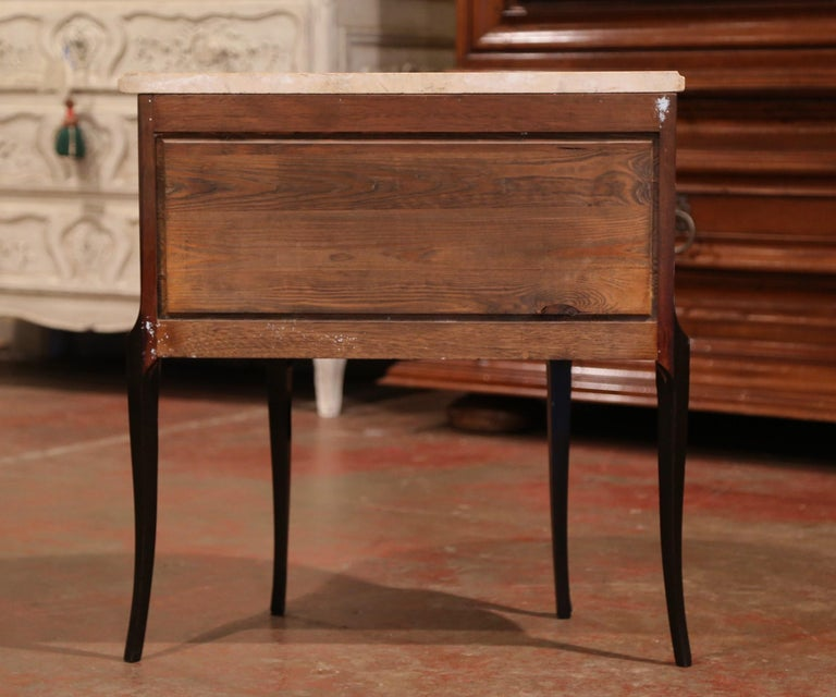 Early 20th Century French Louis XV Carved Walnut Inlay Commode with Beige Marble For Sale 5