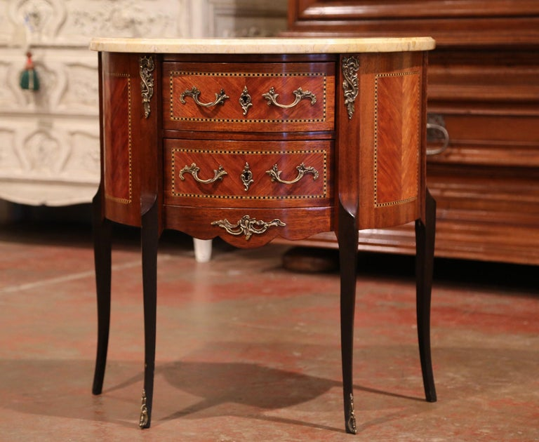 Parquetry Early 20th Century French Louis XV Carved Walnut Inlay Commode with Beige Marble For Sale