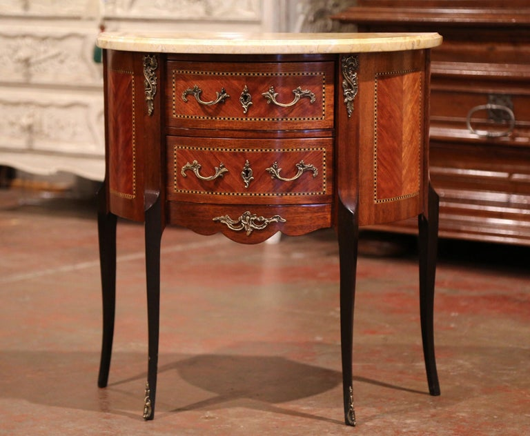 Griotte Marble Early 20th Century French Louis XV Carved Walnut Inlay Commode with Beige Marble For Sale