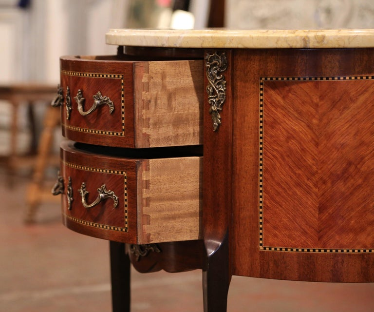 Early 20th Century French Louis XV Carved Walnut Inlay Commode with Beige Marble For Sale 2