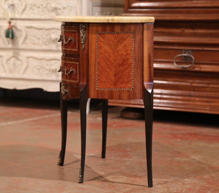 Early 20th Century French Louis XV Carved Walnut Inlay Commode with Beige Marble For Sale 3