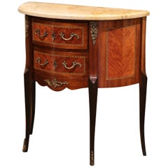Early 20th Century French Louis XV Carved Walnut Inlay Commode with Beige Marble